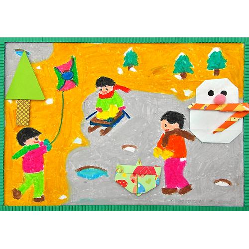 [종이접기 & 색칠공부] 신나는 겨울놀이 - 10개묶음 /어린이집 유치원 겨울만들기 만들기재료