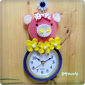 꿀꿀이 시계 (5개) - 골판지공예 페이퍼아트 종이공예 골지공예